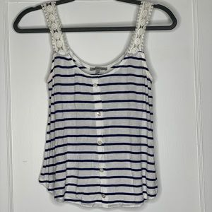 Cute and comfy striped tank w/ lace straps